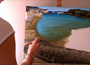Peindre à l'acrylique : tutoriel de peinture marine avec port, bateaux, mer