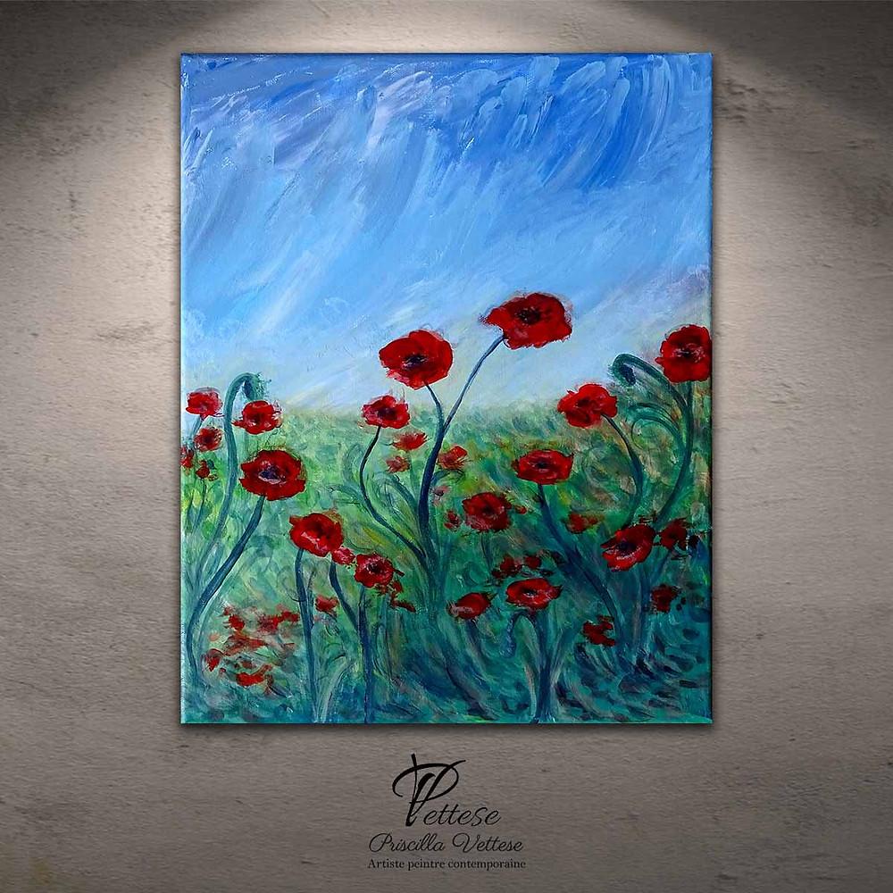 Peinture de fleurs style coquelicot