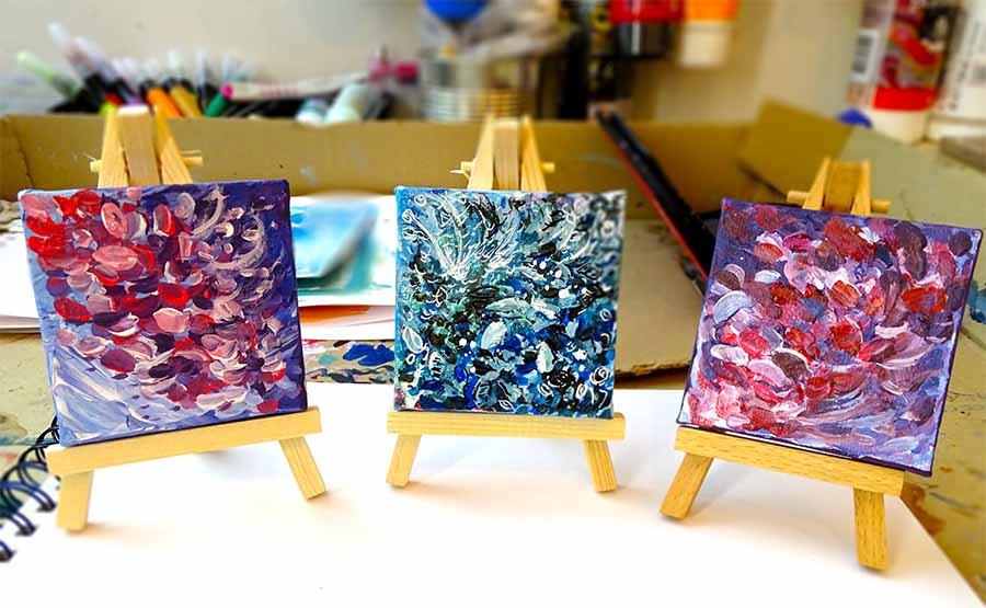 peinture fleurs petit format
