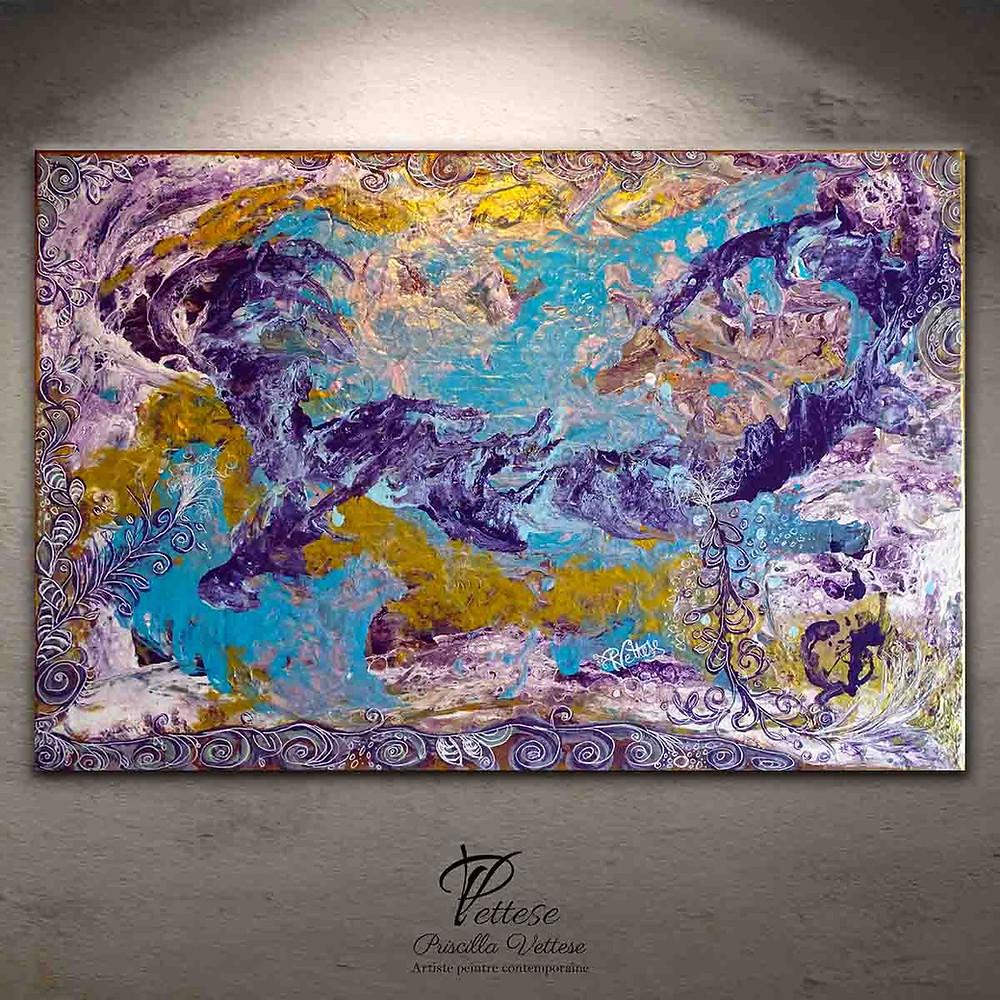 Tableau abstrait violet, bleu, or/doré multicolore