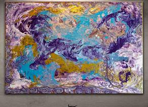 Tableau abstrait violet doré/or coloré