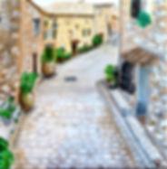 Peinture paysage rue pierres