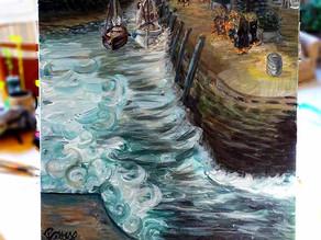 Tableau paysage : peinture figurative de bateaux