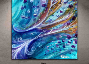 """""""Melancholia"""" tableau moderne bleu violet format 20 x 20 cm"""