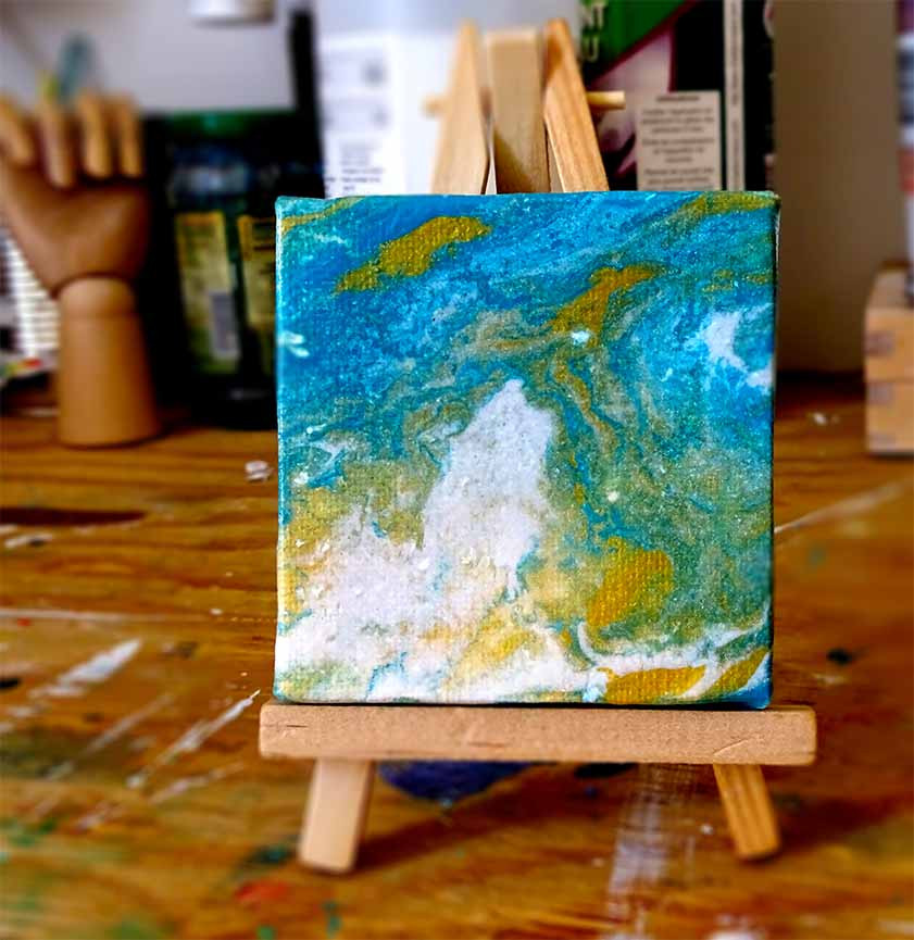 mini tableau abstrait bleu