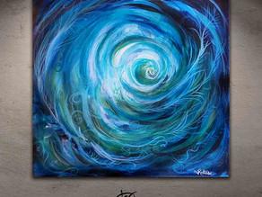"""Tableau abstrait bleu vert - """"Maelstrom vertueux"""""""