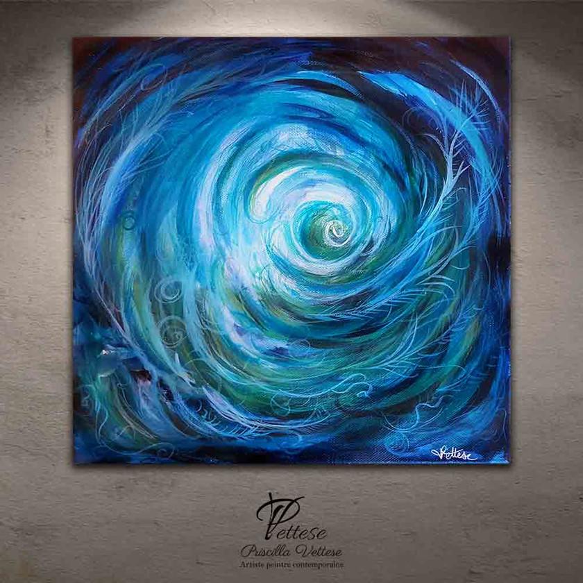 Peinture bleu vert abstraite