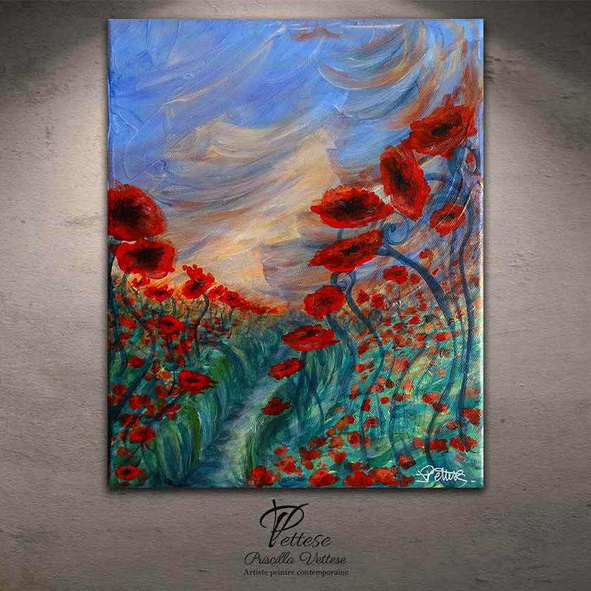 Modern poppies painting