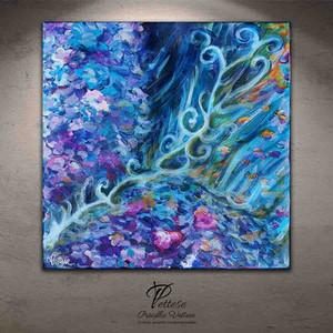 tableau abstrait vbleu violet