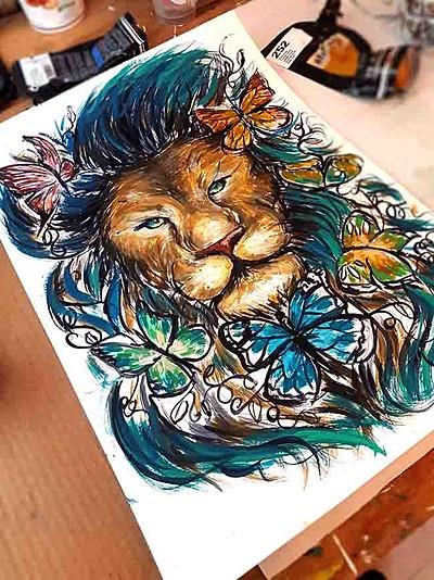 Lion-Papillons esquisse pop art sur mesure 2021