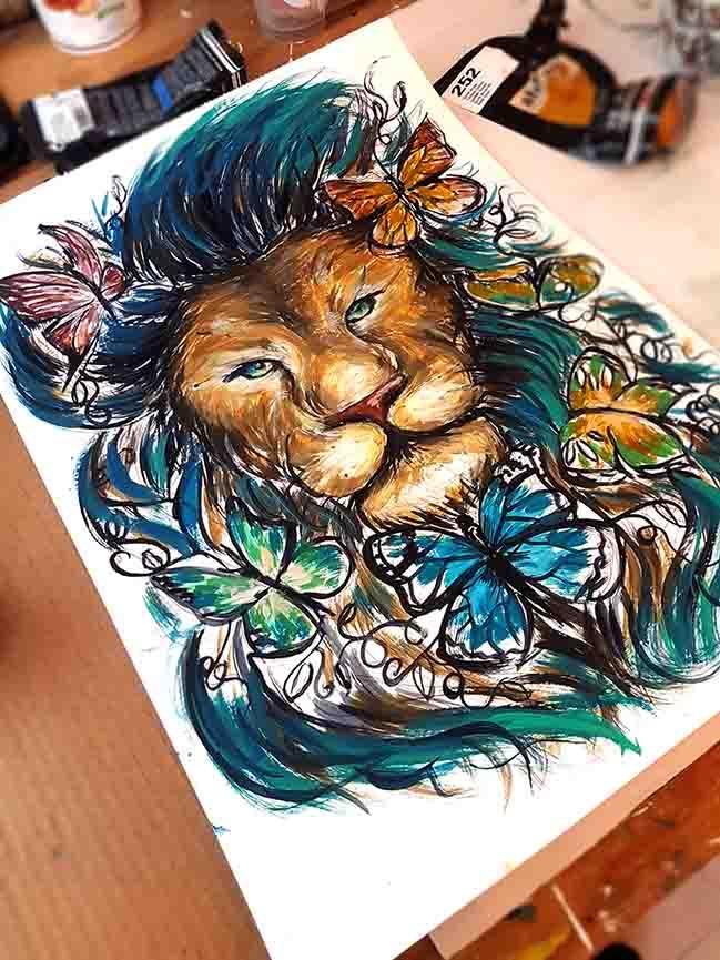peinture personnalisée sur mesure lion