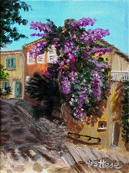 Peinture d'un rue avec fleurs