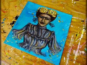 Tableau portrait en peinture de l'artiste peintre Frida Kahlo