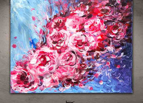"Peonies abstract painting - ""L'Abandon"""