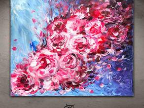 "Peonies abstract painting - ""L'Abandon"""