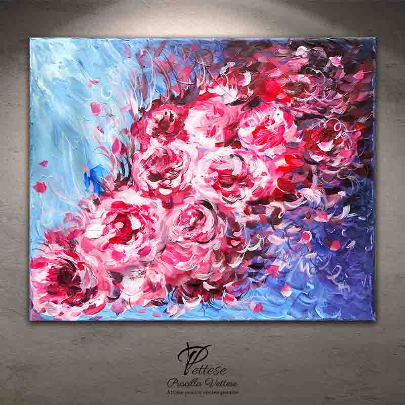 abstract peonies painting