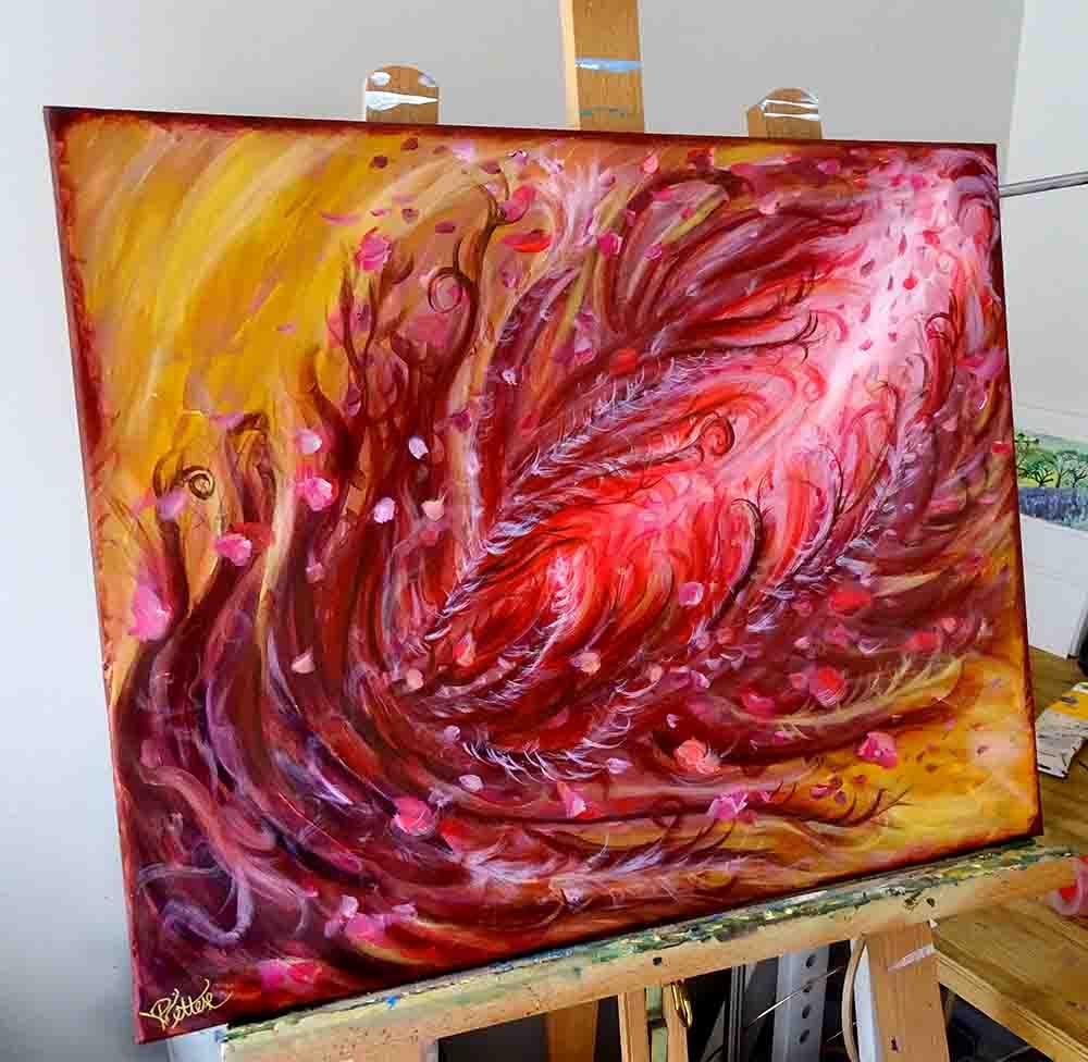 peinture expressionniste rouge jaune