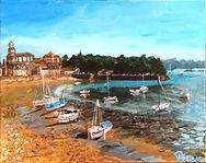 peinture paysage bateaux