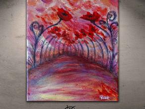 """Expressionist painting of poppies - """"Le sentier de la passion"""""""