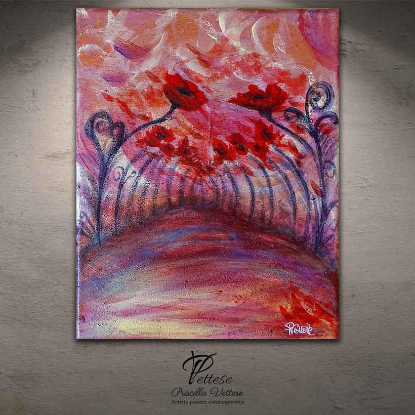 Peinture expressionniste rouge fleurs