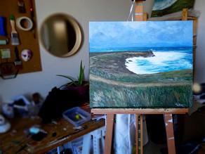 Peinture marine sur toile contemporaine, Quiberon