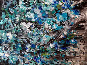 Blizzard de fleurs - Tableau abstrait bleu