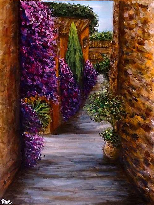 peinture village rue