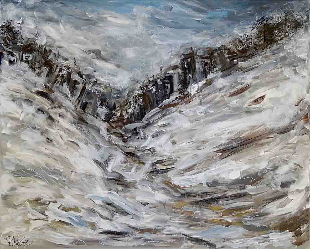 peinture abstraite ville hiver
