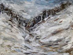 Blizzard Urbain - Peinture abstraite d'hiver contemporaine