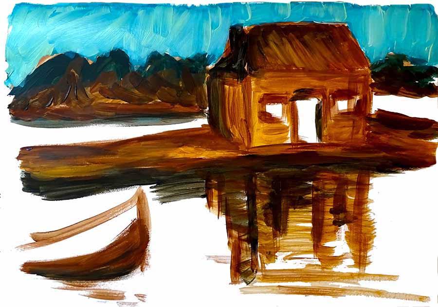 peindre l'eau la mer ciel