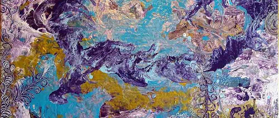 """Tableau abstrait coloré  - """"Gaia"""""""