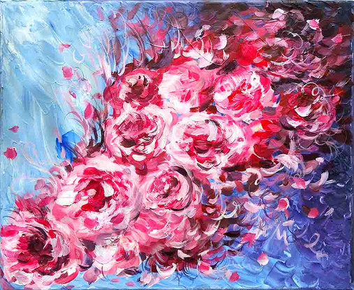 abstract painting peonies