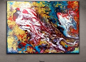 Tableau abstrait rouge bleu or/doré