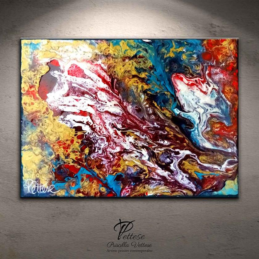 Tableau abstrait rouge, or, bleu