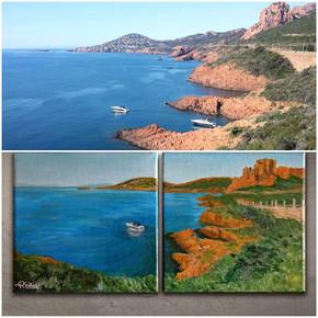 Peinture sur photo paysage mer
