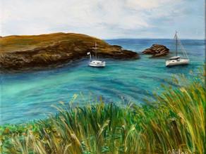 Peinture paysage, mer et bateaux