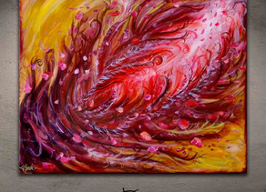 """Red pink yellow abstract painting - """"Efflorescence"""""""