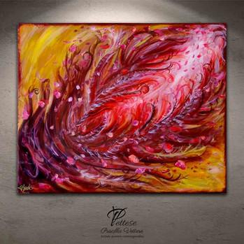 Tableau abstrait rouge fleurs