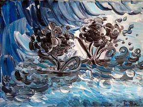Tableau abstrait bleu - Fleurs d'eau