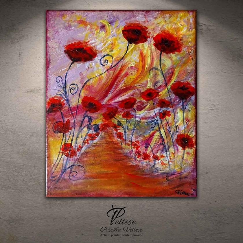 Tableau rouge fleurs coquelicots