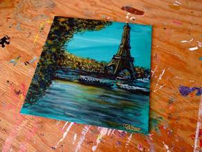 """Tableau paysage moderne Tour Eiffel - """"Berges de Seine"""""""