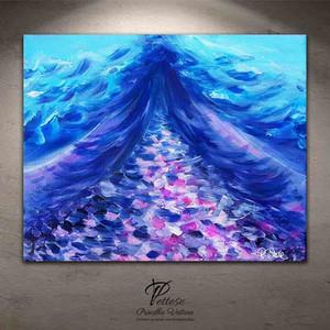 tableau abstrait violet rose bleu