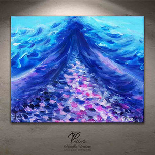 Abstract violet blue painting