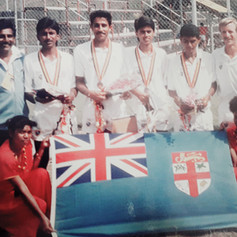 The Fiji Men's tennis team at the South Pacific Games in Papua New Guinea in 1991