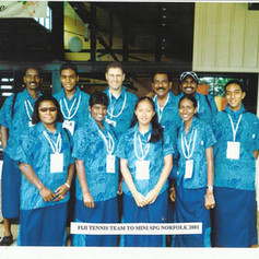 The Fiji Tennis team at the South Pacific Mini Games on Norfolk Island in 2001