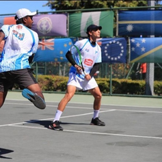 Raynal Singh (L) and William O'Connell (R) compete in the mens doubles finals during the Punjas Pacific Nations Cup in 2019, Lautoka