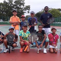 Coach Krishneel Kumar and participants of the Fiji-Japan Junior Tennis Exchange Program in Chiba, Japan 2018