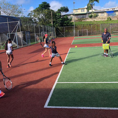 Coach Junior Lal and his students train at Victoria Courts in Suva in June 2020