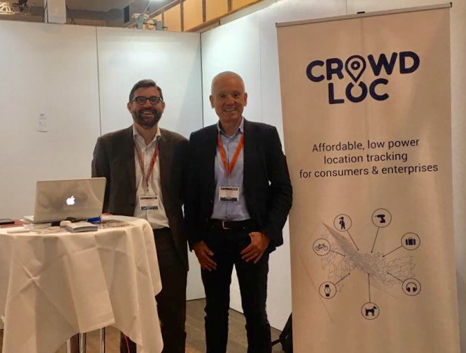 Ludovic Privat and Aleks Ristic (CROWDLOC's founders) at CROWDLOC's booth at the IoT Expo Berlin