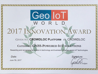 CROWDLOC Receives Award at Geo IoT World